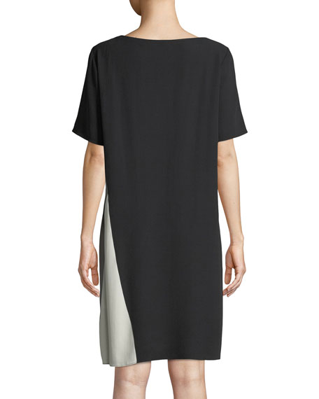 Silk Georgette Colorblock Short-Sleeve Dress, Petite