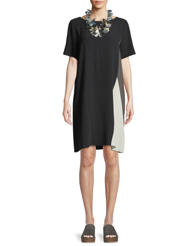 Silk Georgette Colorblock Short-Sleeve Dress, Petite