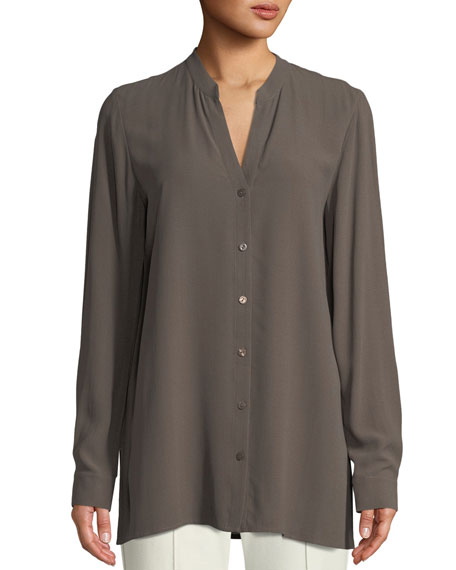 Silk Georgette Crepe Button-Front Top, Plus Size