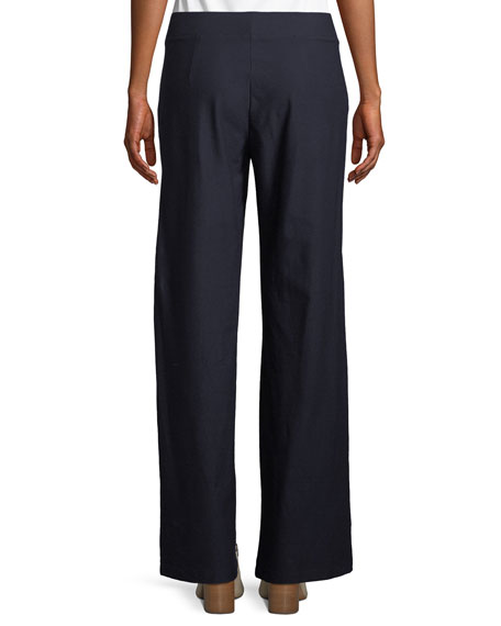 Washable Stretch Crepe Modern Wide-Leg Pants