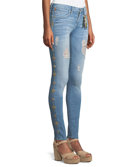Marilyn Distressed Skinny Jeans with Beaded Embellishments