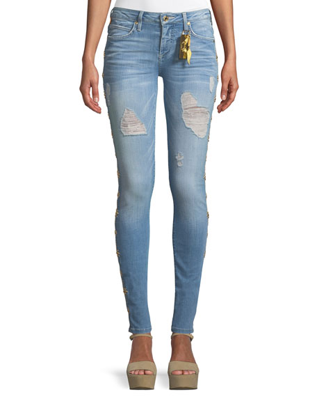 Robin's Jeans Marilyn Distressed Skinny-Leg Jeans with Beaded