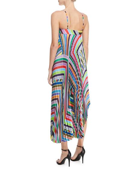Irene Rainbow Striped Twill Pleated Dress