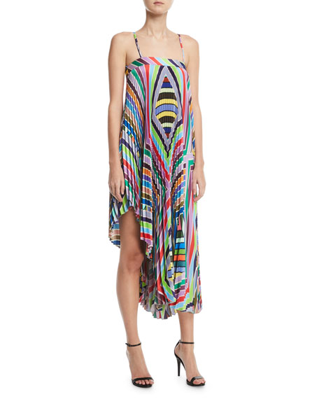 Milly Irene Rainbow Striped Twill Pleated Dress