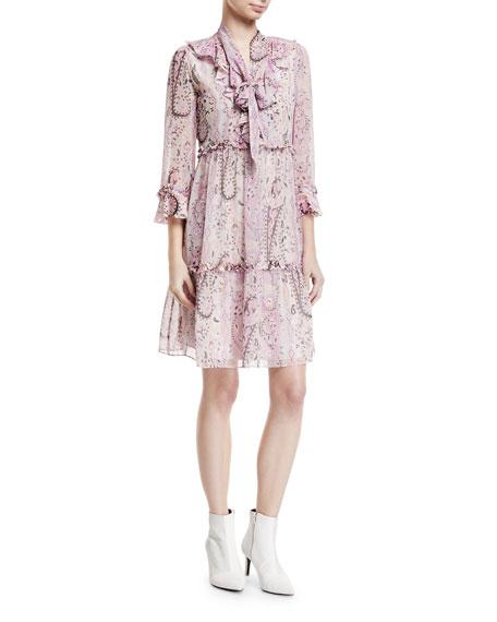 Andrea Silk Self-Tie Paisley Dress