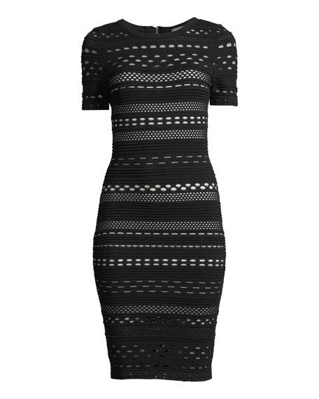 Sheath Dress with Lace Cutouts