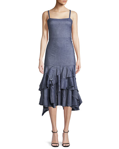 Stretch Denim Linen Apron Ruffle Dress