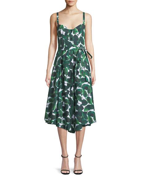 Banana Leaf-Print Poplin Bustier Dress