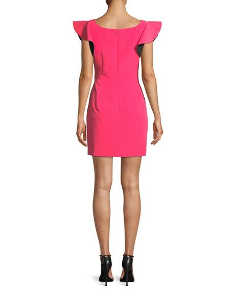Italian Cady Ruffle-Sleeve Bow Mini Dress