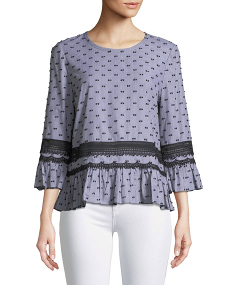 Haiden Lace-Trim 3/4-Sleeve Blouse