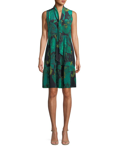 Rosie Leaf-Print Silk Dress