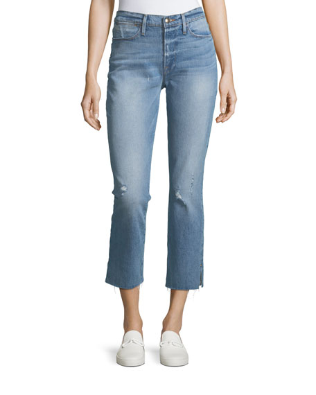 FRAME Le High Straight-Leg Raw-Edge Slit Jeans