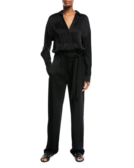 Cross-Front Long-Sleeve Jumpsuit