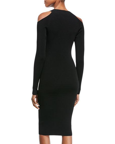 Cold-Shoulder Long-Sleeve Sheath Dress