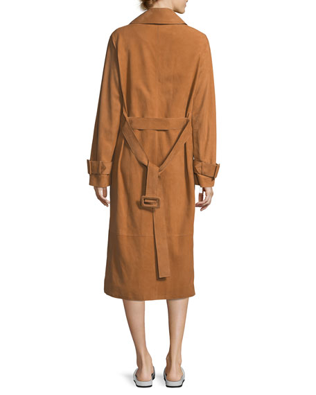 Belted Suede Trench Coat