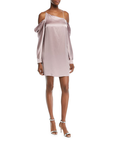 Camille Asymmetric Long-Sleeve Silk Satin Mini Slip Dress