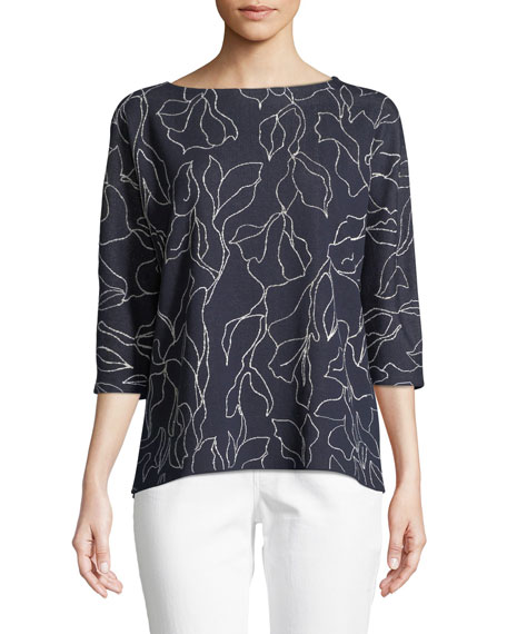 Lafayette 148 New York Floral Jacquard Sweater with Chain Detail