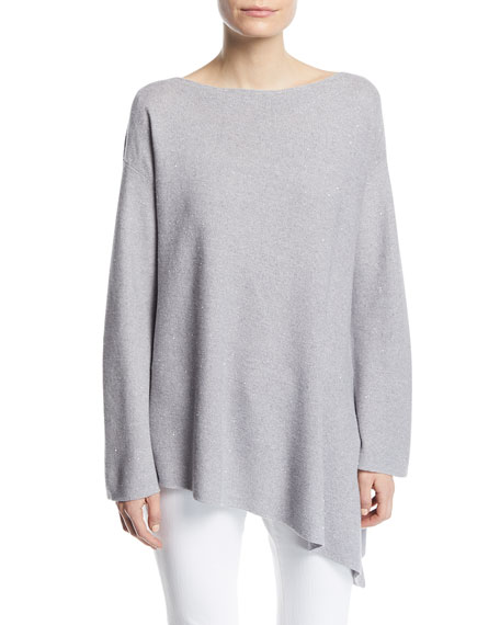 Sequin Mouline Asymmetric Sweater