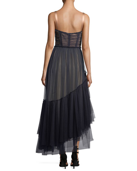 Coletta Sweetheart-Neck Fit-and-Flare Chiffon Cocktail Dress