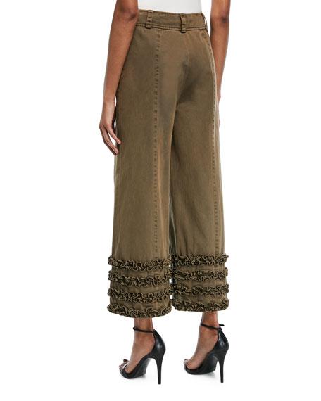 Tous Les Jours Carmelina Wide-Leg Pants with Ruffled Details