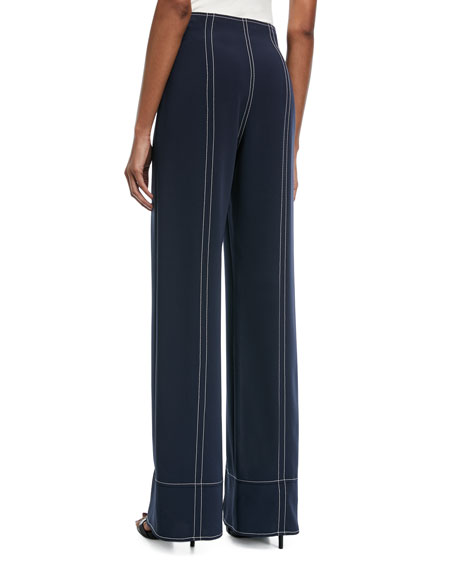 Magdalena Wide-Leg Slit-Front Pants with Topstitching