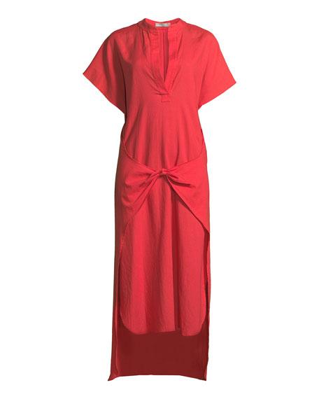 Tie-Front Slit-Neck Short-Sleeve Long Poplin Dress