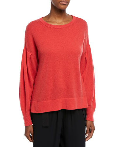 Crewneck Pleated-Sleeve Pullover Cashmere Sweater