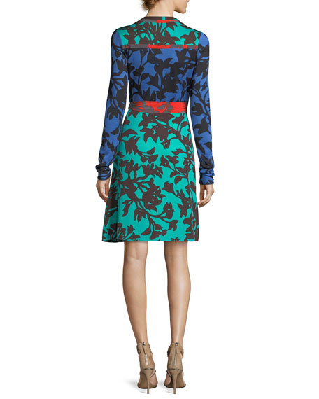 Diane von Furstenberg Mixed Jersey Wrap Dress