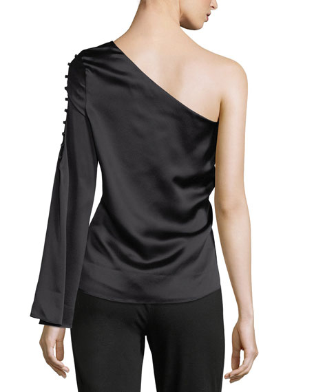 Ripley One-Shoulder Silk Blouse