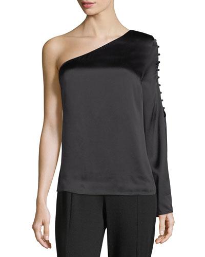 Ripley One-Shoulder Silk Blouse
