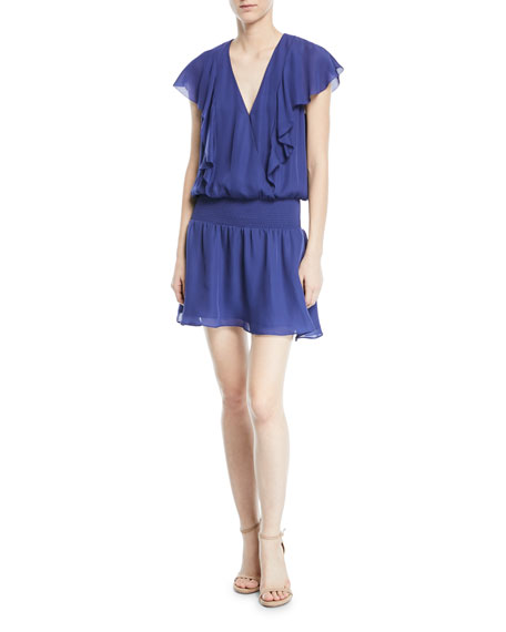 Parker Gabriella V-Neck Cap-Sleeve Silk Mini Dress