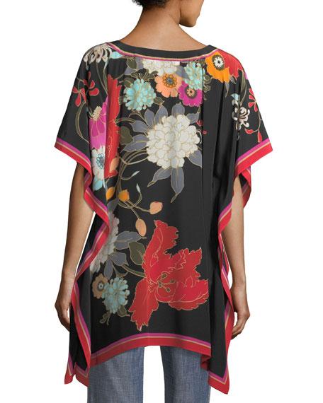 Exotic Bloom-Print Oversized Kaftan