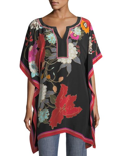 Exotic Bloom-Print Oversized Kaftan