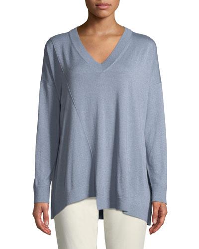 Cashmere-Silk Blend Asymmetric Sweater