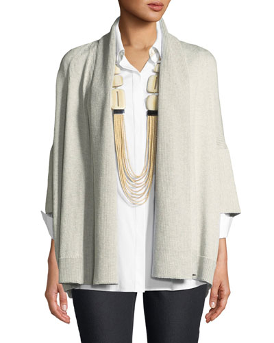 Short-Sleeve Open-Front Cardigan