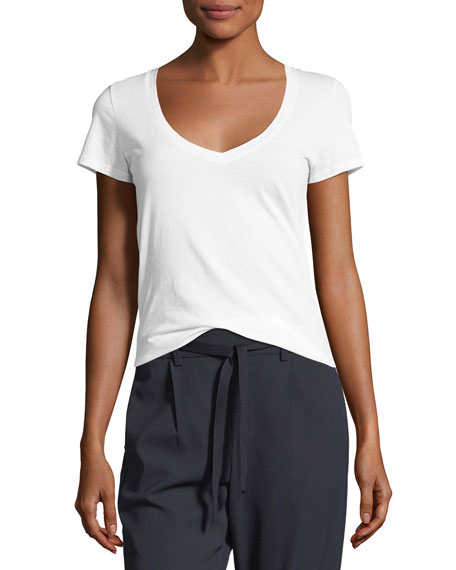 Vince Essential Pima Cotton V-Neck Tee and Matching