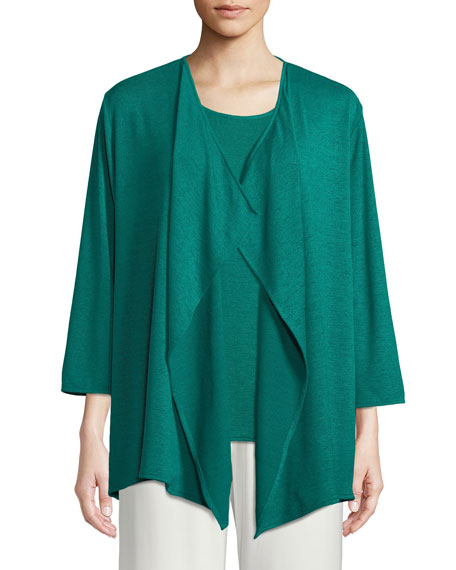 Caroline Rose Gauze Knit Draped Cardigan, Petite