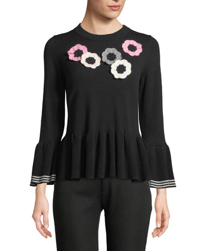 crochet floral bell-sleeve peplum sweater