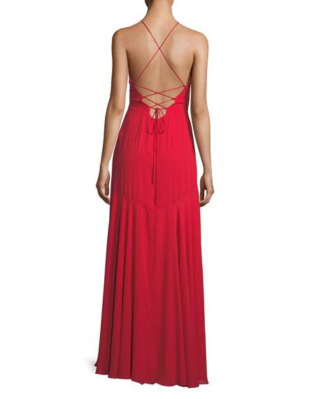 Callais Asymmetric Ruffle Wrap Slip Gown