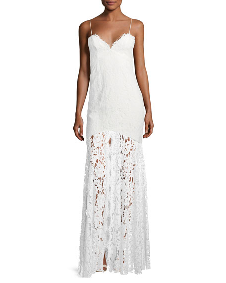 Babe Lace Front-Slit Sleeveless Dress