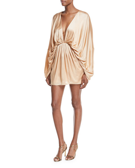 Fame and Partners Charmian Satin Plunging Mini Dress