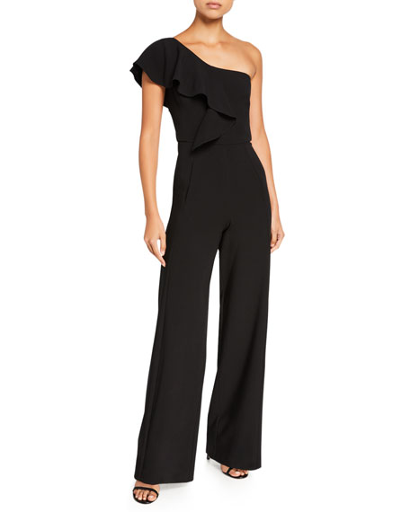 Black Halo Kallan One-Shoulder Wide-Leg Jumpsuit