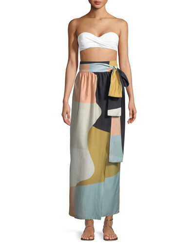 Cora Colorblocked Convertible Cotton Coverup Maxi Skirt/Dress