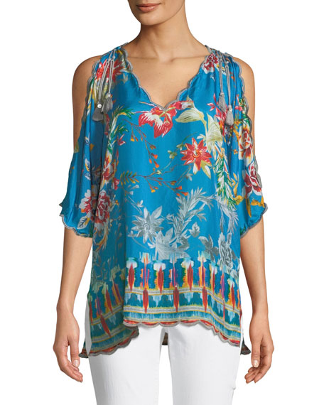 Betimo Cold-Shoulder Floral-Print Silk Blouse