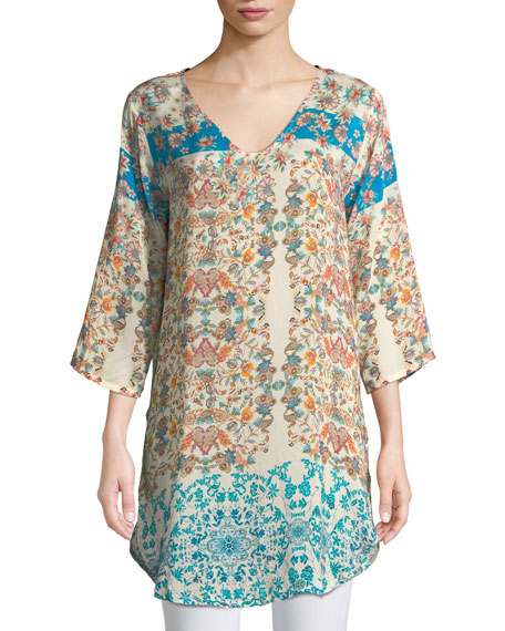 Johnny Was Betty Half-Sleeve Floral-Print Blouse