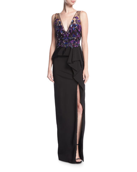 Marchesa Notte Beaded Stretch-Faille Column Gown