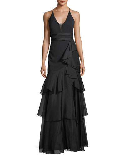 Sleeveless Tiered Chiffon Gown