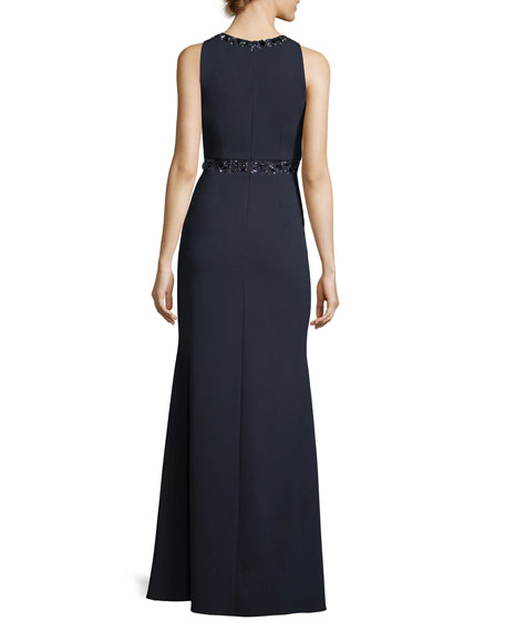 Embellished Crepe Keyhole Gown