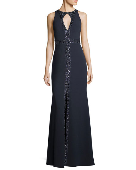 Aidan Mattox Embellished Crepe Keyhole Gown
