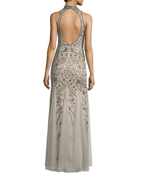 Embellished Mock-Neck Open-Back Gown